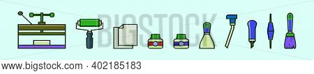 Set Of Lithograph Equipment Cartoon Icon Design Template With Various Models. Modern Vector Illustra