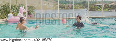 Kids Having Fun Playing In Pool With Father At Home, Staycation Concept
