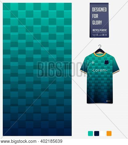 Fabric Pattern Design. Geometric Pattern On Green Gradient Background For Soccer Jersey, Football Ki