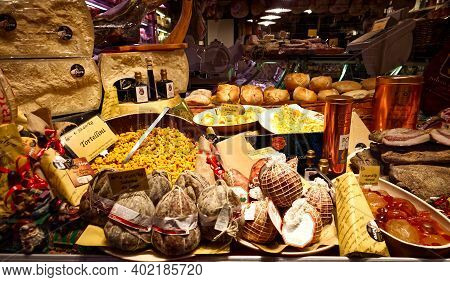 Bologna - Italy - December 28, 2020: Shop Window Of Traditional Food In The City Centre Of Bologna,
