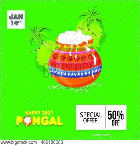 South Indian Festival Pongal Offer, Sale Background Template With 50% Discounts