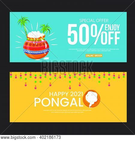 Banners Set For Traditional Indian Festival Pongal. Happy Pongal Greeting Background