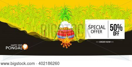 Illustration Of Happy Pongal Sale Background. Can Be Used For Shopping Sale, Promo Poster,