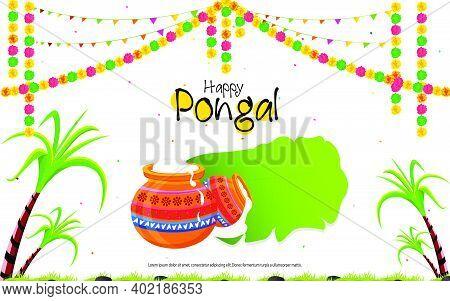 South Indian Festival Happy Pongal Background Template Design Vector Description