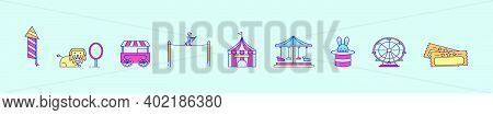 Set Of Funfair Cartoon Icon Design Template With Various Models. Modern Vector Illustration Isolated