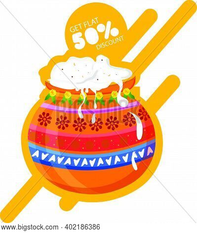 South Indian Festival Pongal Offer, Sale Background Template With 50% Discount Tag