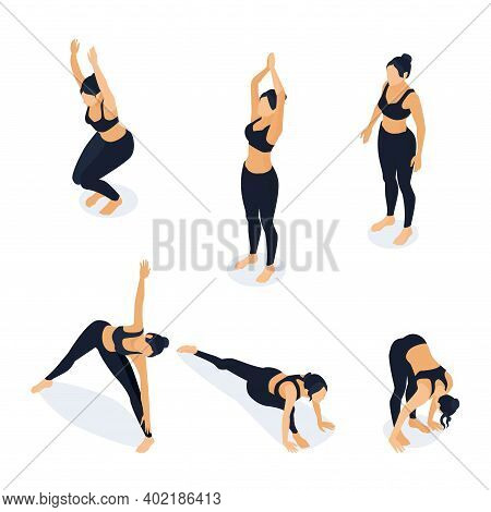 Isometric Woman In Yoga Positions Isolated On White. Vector Illustration Of Female Athlete Stretchin