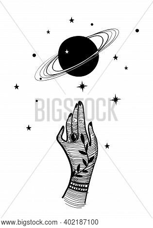 Mystical Illustration With A Female Hand And Planet With Rings. Saturn And Palm In Vintage Design, V