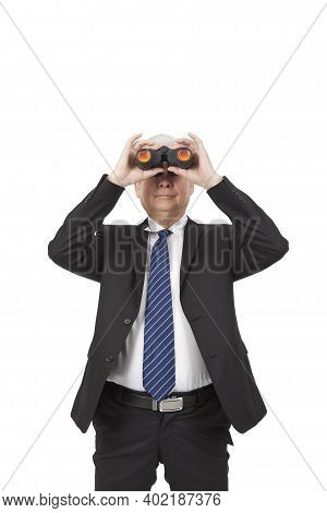 An Old Senior Businessman Holding Hand-held Telescope High Quality Photo