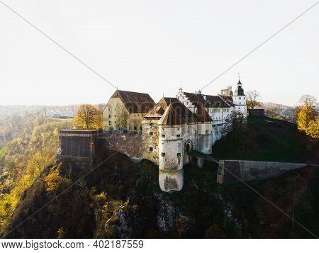 Aerial Panorama Of Medieval Schloss Hellenstein Castle In Heidenheim An Der Brenz Baden-wuerttemberg