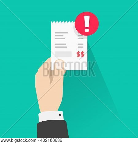 Past Due Payment, Bill Pay Overdue Invoice Notice Vector Flat Cartoon Illustration, Unpaid Paper Rec