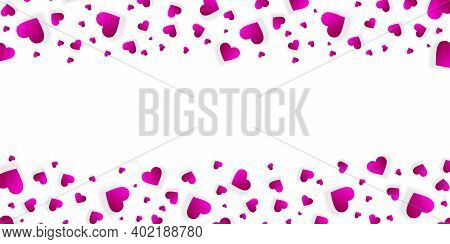 Heart Frame Vector Border Love Banner With Falling Pink Scatter Confetti Petals. Horizontal Up And D