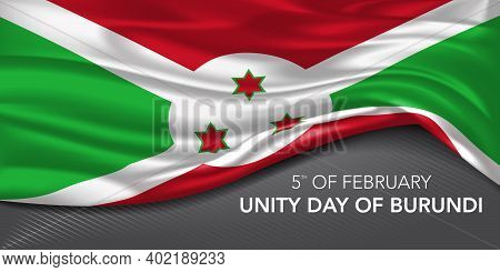 Unity Day Of Burundi Greeting Card, Banner With Template Text Vector Illustration