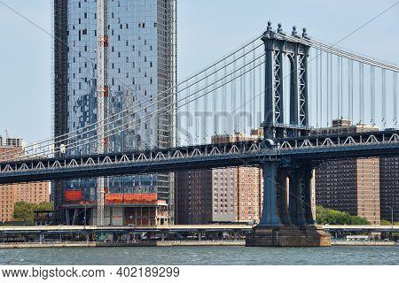 New York City - August 27: Manhattan Bridge On August 27, 2017 In New York City, Ny. The Manhattan B