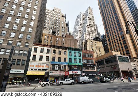New York City - August 28: Street In Manhattan On August 28, 2017 In New York City, Ny. Manhattan Is