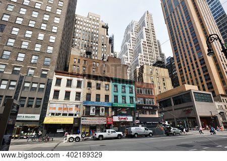 New York City - August 28: Street In Manhattan On August 28, 2017 In New York City, Ny. Manhattan Is