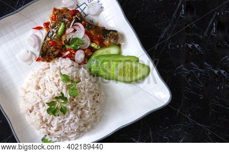 Thai Food, Stir-fried Menu With Canned Fish Curry With Rice Ready To Garnish, Served With Cucumber