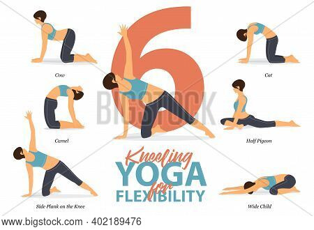 Infographic Of 6 Kneeling Yoga Poses For Easy Yoga At Home In Concept Of Flexibility In Flat Design.