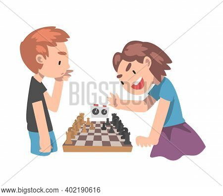 Cute Boy And Girl Competing In Chess Together, Kids Chess Club, Tournament, Leisure Activity, Logic
