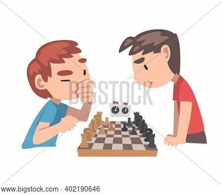 Cute Boys Playing Chess Game Together, Kids Chess Club, Tournament, Leisure Activity, Logic Game For