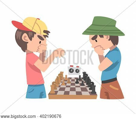 Cute Boys Playing Chess Game, Chess Club, Tournament, Leisure Activity, Logic Game For Brain Develop