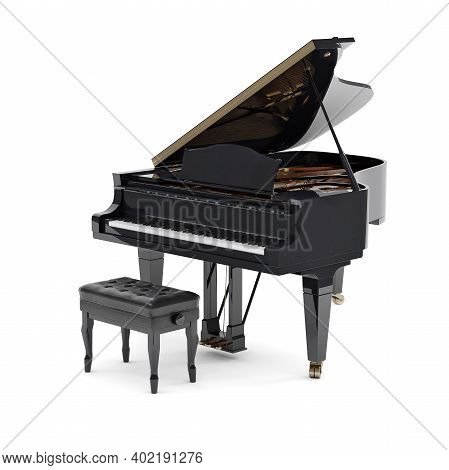 Beautiful Grand Piano Isolated On White Background