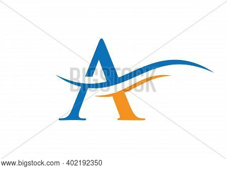 Premium Letter A Logo Design With Water Wave Concept. A Letter Logo Design With Modern Trendy