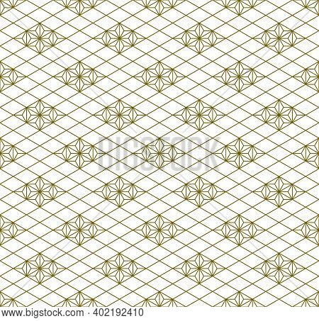 Japanese Seamless Kumiko Pattern In Golden With Average Thickness Lines.