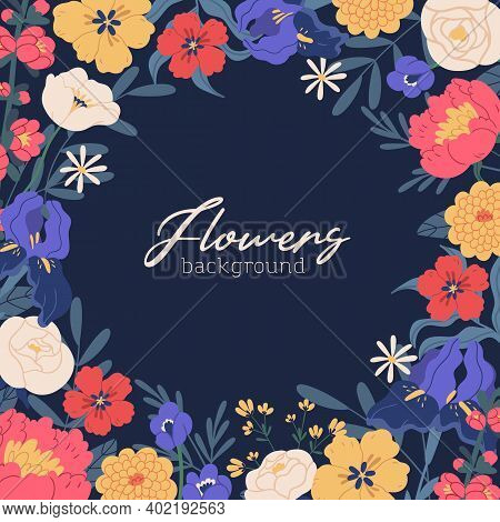 Square Background With Gorgeous Blooming Flowers And Place For Text. Greeting Card Template Decorate