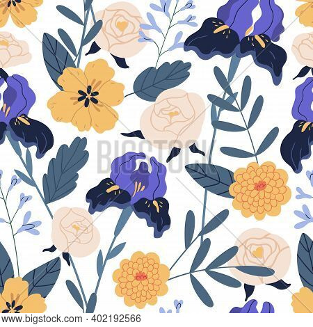 Gorgeous Seamless Floral Pattern With Irises And Chrysanthemum. Endless Design With Elegant Flowers