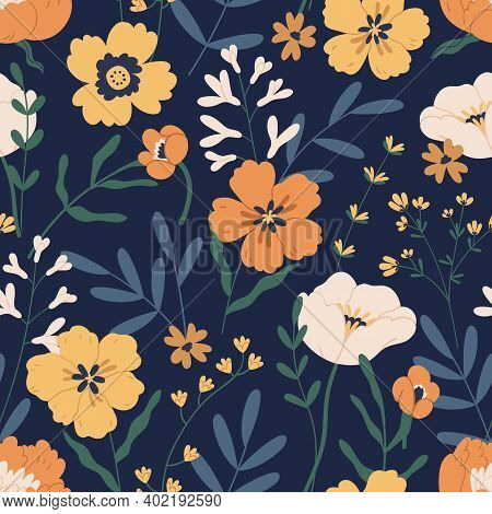 Gorgeous Seamless Pattern With Anemones On Black Background. Floral Design With Elegant Flowers For
