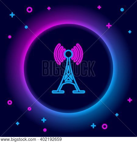 Glowing Neon Line Antenna Icon Isolated On Black Background. Radio Antenna Wireless. Technology And