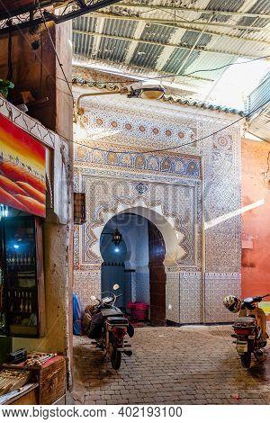 Marrakesh, Morocco - January 21, 2019: Sunken Corner Of Marrakesh City, Morocco, January 21, 2019