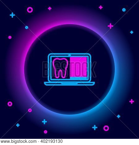 Glowing Neon Line Laptop With Dental Card Or Patient Medical Records Icon Isolated On Black Backgrou