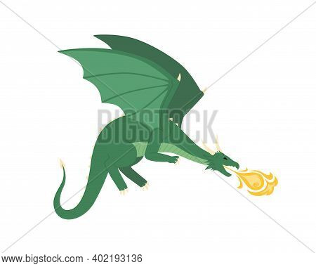 Green Mythical Dragon Blowing Fire Vector Flat Illustration. Medieval Dangerous Creature With Wings