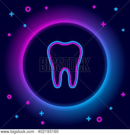 Glowing Neon Line Tooth Icon Isolated On Black Background. Tooth Symbol For Dentistry Clinic Or Dent