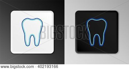 Line Tooth Icon Isolated On Grey Background. Tooth Symbol For Dentistry Clinic Or Dentist Medical Ce