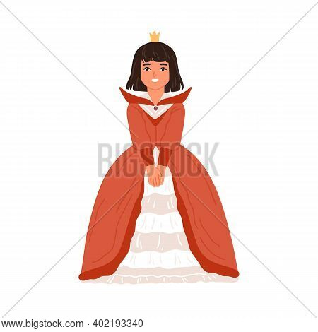 Happy Little Girl In Princess Or Queen Gown Vector Flat Illustration. Smiling Female Kid In Elegant