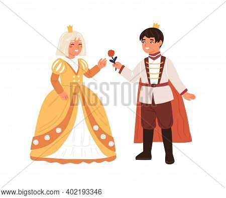 Cute Boy In Prince Costume Giving Rose To Girl In Princess Gown Vector Flat Illustration. Royal Coup