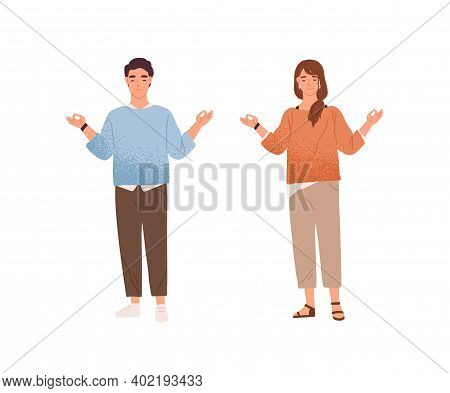 Man And Woman Meditating Trying To Keep Equanimity And Calmness Vector Flat Illustration. Calm Male