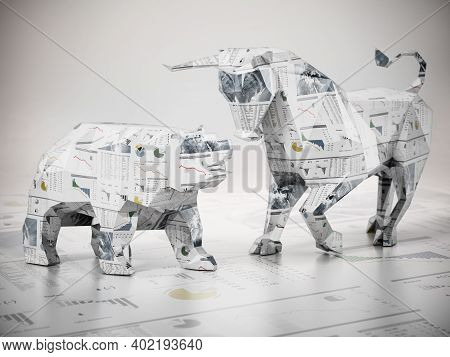 Low Poly Bull And Bear Standing On Finance Newspaper Page. 3d Illustration.