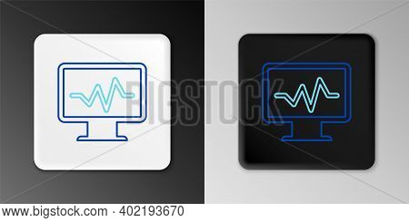 Line Computer Monitor With Cardiogram Icon Isolated On Grey Background. Monitoring Icon. Ecg Monitor