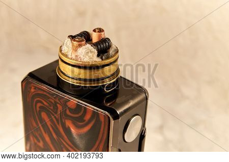 Vape Rda Or E-cigarette For Vaping With Coils And Cotton, Rebuildable Dripping Atomizer Or Vaporizer