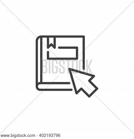 Online Education Line Icon. Linear Style Sign For Mobile Concept And Web Design. Ebook With Mouse Cu