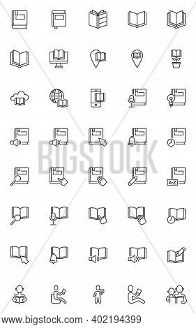 Reading Book Line Icons Set. Knowledge Education Linear Style Symbols Collection, Outline Signs Pack