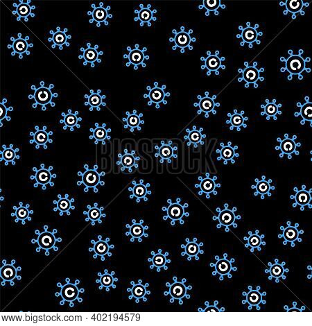 Line Copywriting Network Icon Isolated Seamless Pattern On Black Background. Content Networking Symb