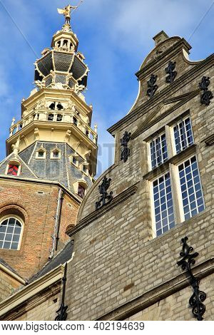 The Stadhuis (town Hall) With Its Impressive Decorated Tower In Zierikzee, Zeeland, Netherlands