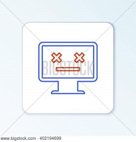 Line Dead Monitor Icon Isolated On White Background. 404 Error Like Pc With Dead Emoji. Fatal Error