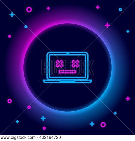 Glowing Neon Line Dead Laptop Icon Isolated On Black Background. 404 Error Like Laptop With Dead Emo