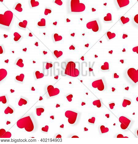 Valentine Hearts Seamless Background, Vector Love Abstract Pattern, Wedding Invitation With Hearts M